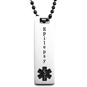 Epilepsy Medical Alert Necklace with Black Symbol