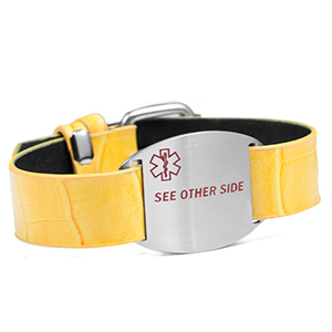 Fashionable Yellow Band Medical Alert Bracelet