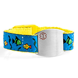 Fish Sport Band Medical Bracelets for Kids  4 - 8 Inch