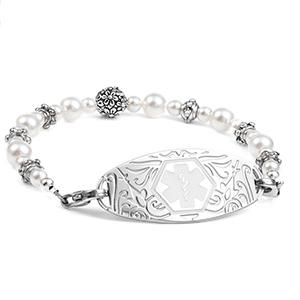 Floral Pearl Womens Beaded Medical Alert Bracelet