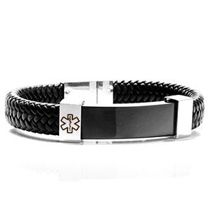 Classy Steel Leather Medical Alert Bracelets for Men