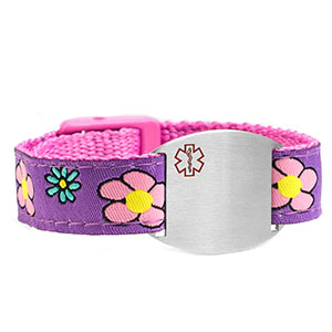 Girls Flower Sport Band Kids ID Bracelet 4 - 8 Inch