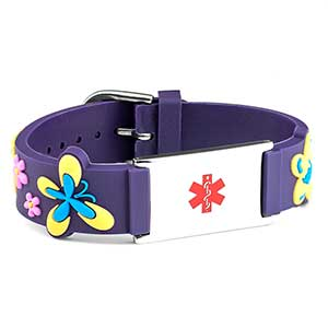 Girls Purple Flower Power Medical ID Bracelet
