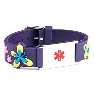 Girls Purple Flower Power Medical ID Bracelet