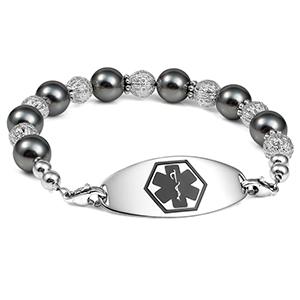 Glam Black Beaded Medical Alert Bracelet