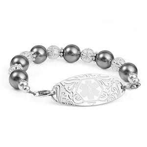 Stunning Pearl Beaded Medical Bracelet