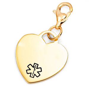 Gold Custom Engraved Heart Charm Medical ID