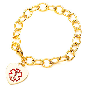 Gold Heart Medical Alert Charm Bracelet