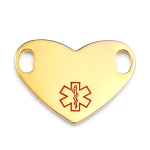 Gold Heart ID Tag for Medical Bracelets