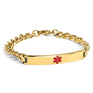 Gold Plated Bracelet  Medical ID Bracelet 8 inch