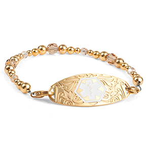 Gold Beaded Medical Alert Bracelet