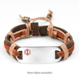 Hayden Hemp Leather Medical ID Bracelets