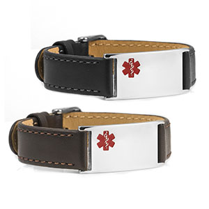 Boston Watch Style Leather Medical ID Bracelets