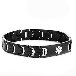 Jet Black Steel Medical ID Bracelets for Men