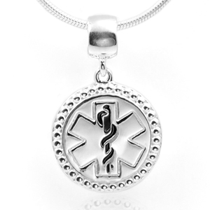 Medical Sterling Silver Pendant or Charm 3/4 Inch Drop Border