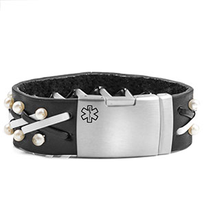 Rock Star Pearl & Leather Medical ID Bracelets