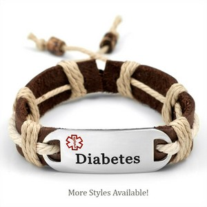 Leather and Hemp Diabetic Bracelets - Multiple Colors
