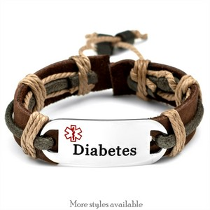 Leather N Hemp Adjustable Diabetic Bracelets