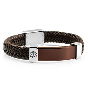 Leather & Bronze Steel Medical Alert Bracelets for Men