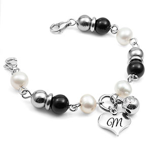 Leiliani Heart Charm Medical Bracelet in Pearl & Onyx