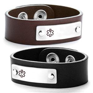 Linden Leather Medical ID Bracelets