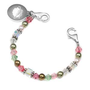 Small Pink and Green Links of Hope Beaded Bracelet - 4.5 inches