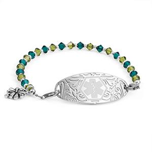 Lucky Clover Shamrock Bead Medical ID Bracelet