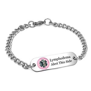 Lymphedema Bracelet with Pink Medical Emblem 7 Inch
