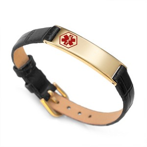 Makenna Gold Leather Watch Style Medical Bracelet