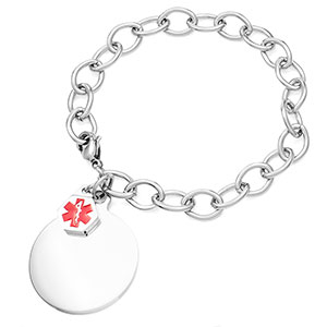 Medical Bracelet with Round Charm 6 - 7 inch