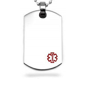 Medical Dog Tag Necklace with Red  Symbol