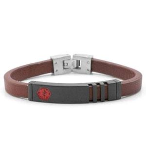 Medium Masie Steel Leather Medical ID Bracelet