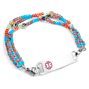 Multi Color Stretch Bead Bracelet with Medical Tag