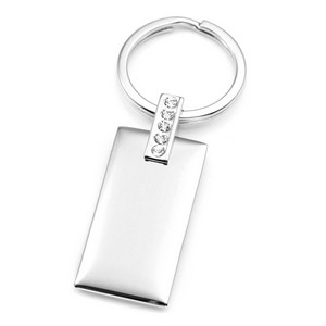 Stainless Steel Personalized Keychain with Crystals