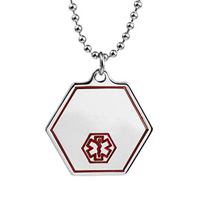 Oneida Small Medical Symbol Stainless Necklace Hexagon 24 In
