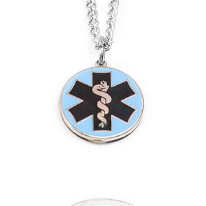 Oneida Medical Alert Silver Tone Blue Enamel Necklace
