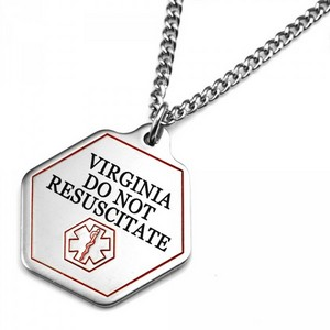 Virginia DNR Medical Alert Stainless Necklace 24 - 27 In
