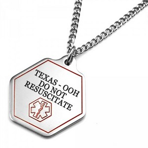 Texas DNR Medical Alert Stainless Necklace 24 - 27 In