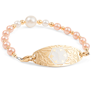 Peach & Pearl Beaded Medical Alert Bracelet