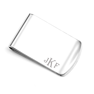Personalized Sterling Silver Wide Money Clip