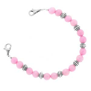 Pink and Silver Bead Bracelet 6 inches