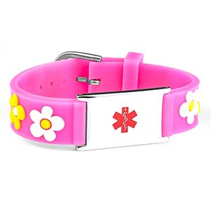 Pink Flower Adjustable Medical ID Bracelet