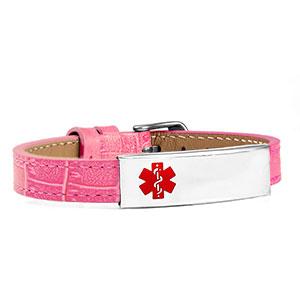 Adjustable Pink Leather Medical Alert Bracelet