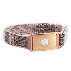 Pink Fabric Adjustable Medical Alert Bracelet