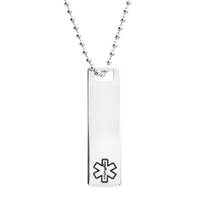 Polished Steel Medical Tag Necklace