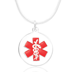 Sterling Silver Round Medical Alert Charm