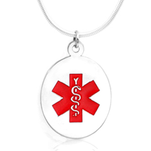 Sterling Silver Medical Alert Oval Small Pendant