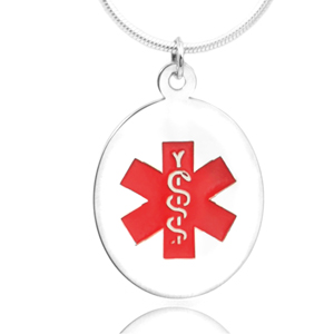 Sterling Silver Medical Alert Oval Medium Pendant