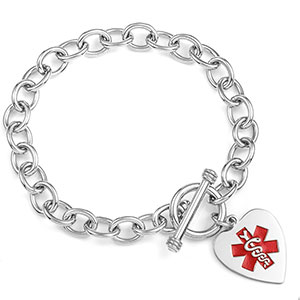 Amara Sterling Heart Charm Medical ID Bracelet