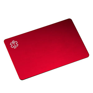 Engravable Red Aluminum Medical ID Card for Wallet (Personalize for $7.95)